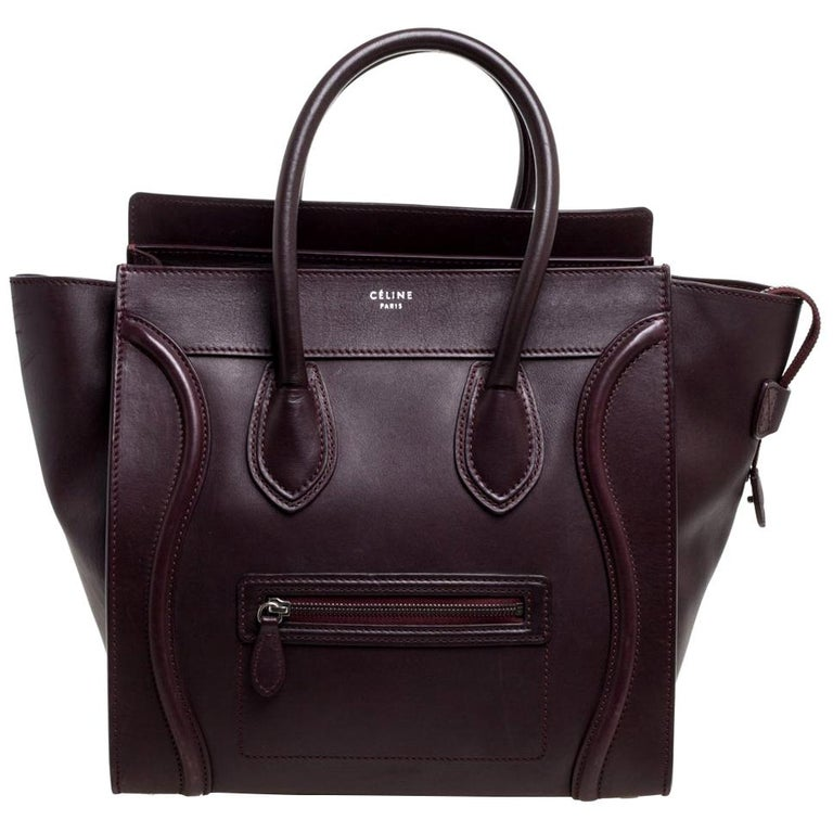 Celine Burgundy Leather Mini Luggage Tote For Sale
