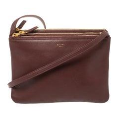 Céline Burgundy Leather Small Trio Zip Crossbody Bag