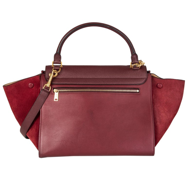 Brown CELINE burgundy leather & suede TRAPEZE SMALL Shoulder Bag For Sale