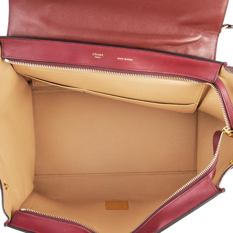 CELINE burgundy leather & suede TRAPEZE SMALL Shoulder Bag In Excellent Condition For Sale In Zürich, CH