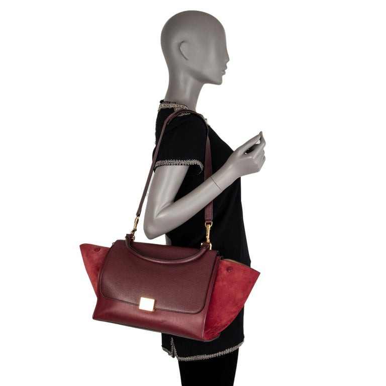 CELINE burgundy leather & suede TRAPEZE SMALL Shoulder Bag For Sale 2