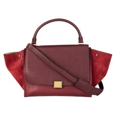 CELINE burgundy leather & suede TRAPEZE SMALL Shoulder Bag