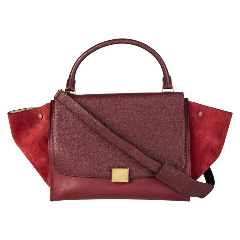 CELINE burgundy leather & suede TRAPEZE SMALL Shoulder Bag For Sale