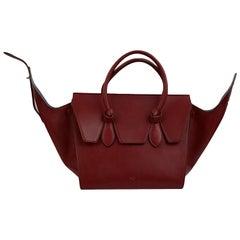 Celine Burgundy Leather Tie Knot Bag Tote Satchel