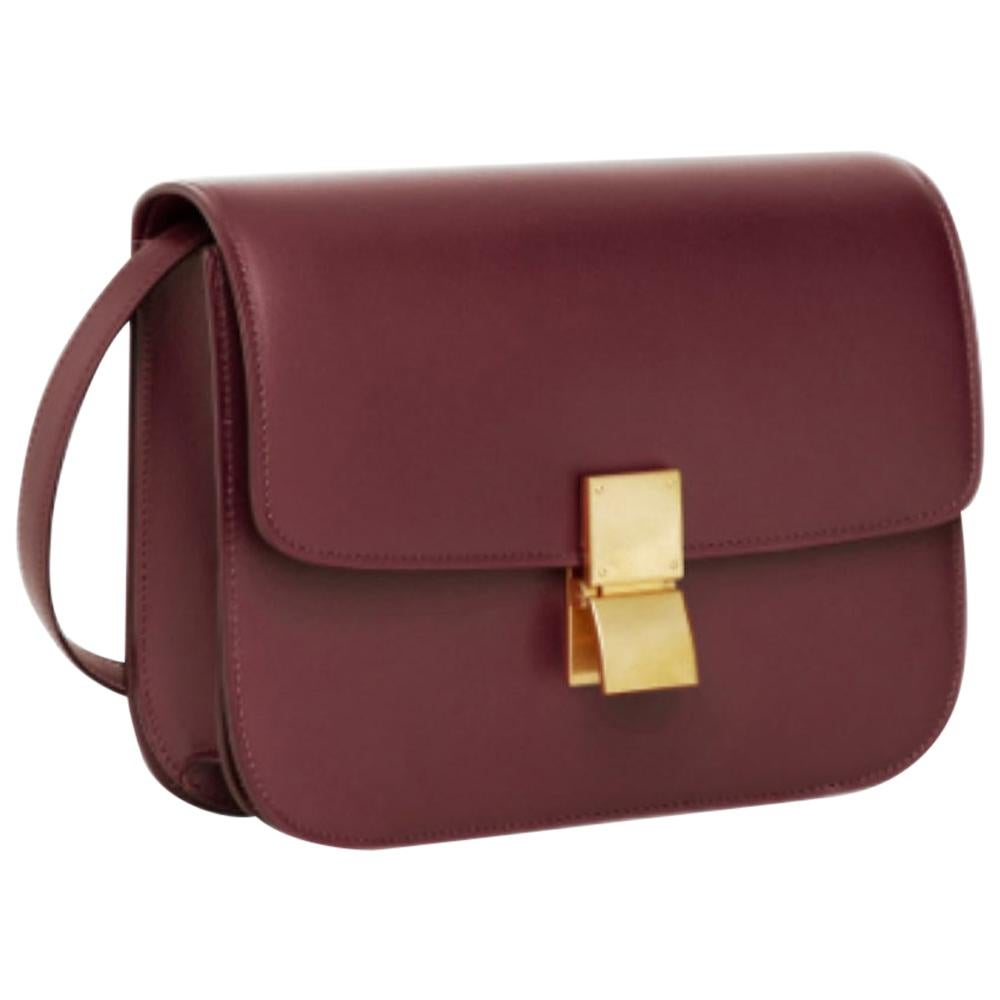 Celine Burgundy Medium Classic bag in box calfskin