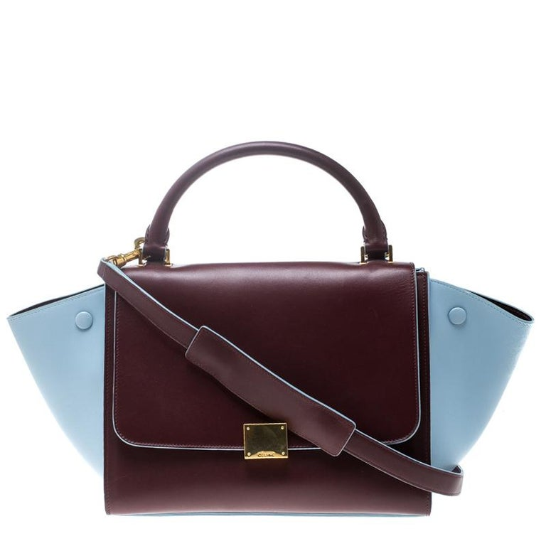 d62d27657c Celine Burgundy Pastel Blue Leather Small Trapeze Bag at 1stdibs