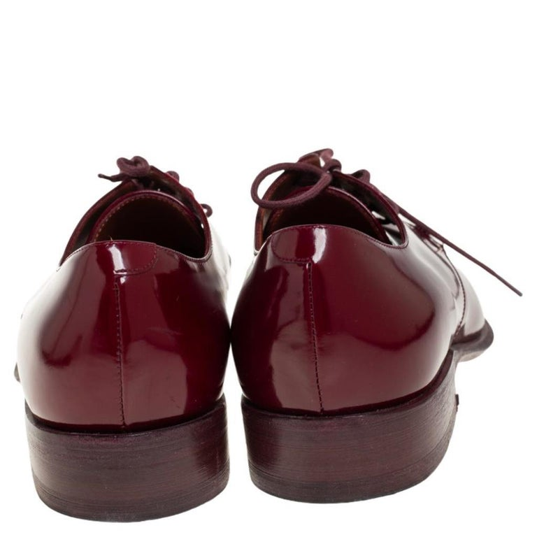 Women's Celine Burgundy Patent Leather Lace Up Derby Size 37.5 For Sale
