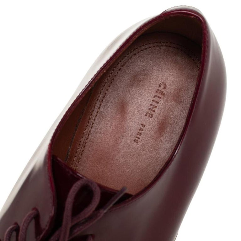 Celine Burgundy Patent Leather Lace Up Derby Size 37.5 For Sale 2