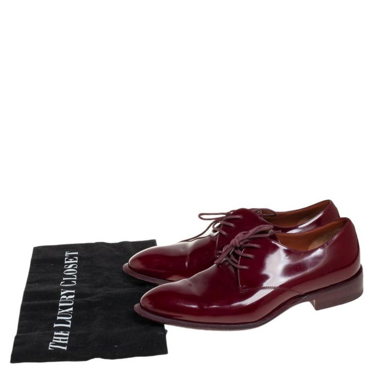 Celine Burgundy Patent Leather Lace Up Derby Size 37.5 For Sale 3