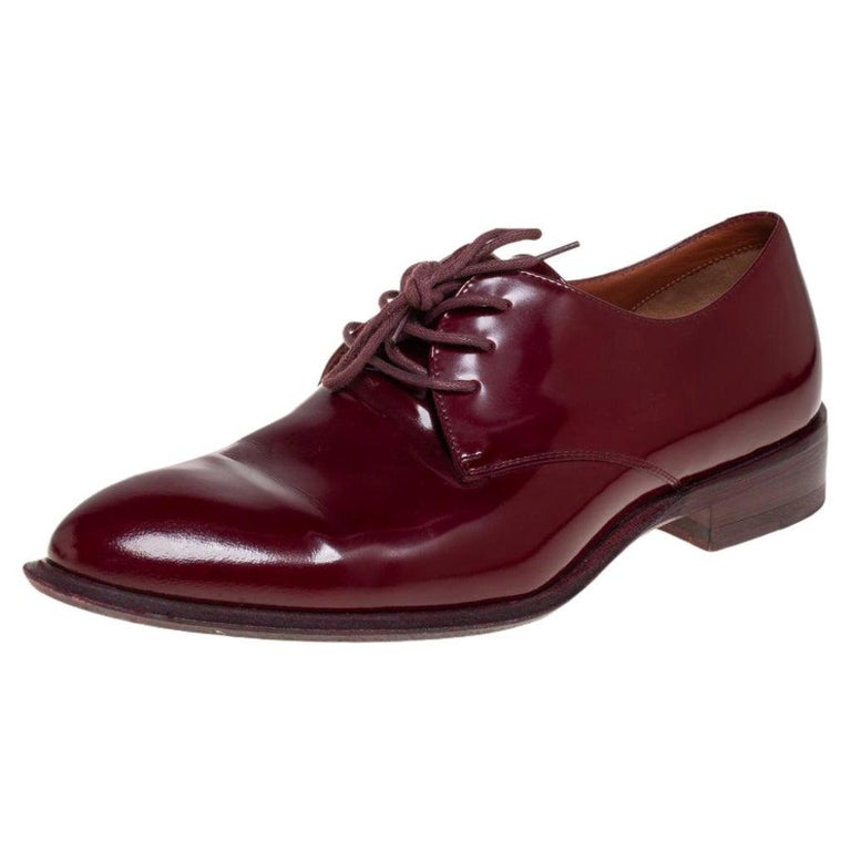 Celine Burgundy Patent Leather Lace Up Derby Size 37.5 For Sale