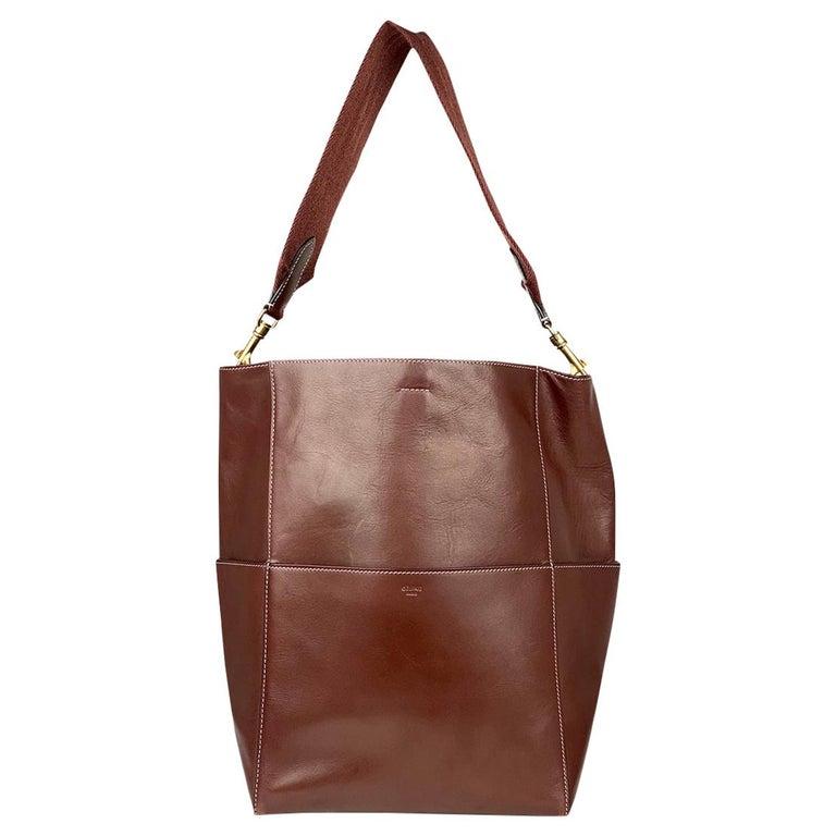 Céline Burgundy Seau Sangle Bag