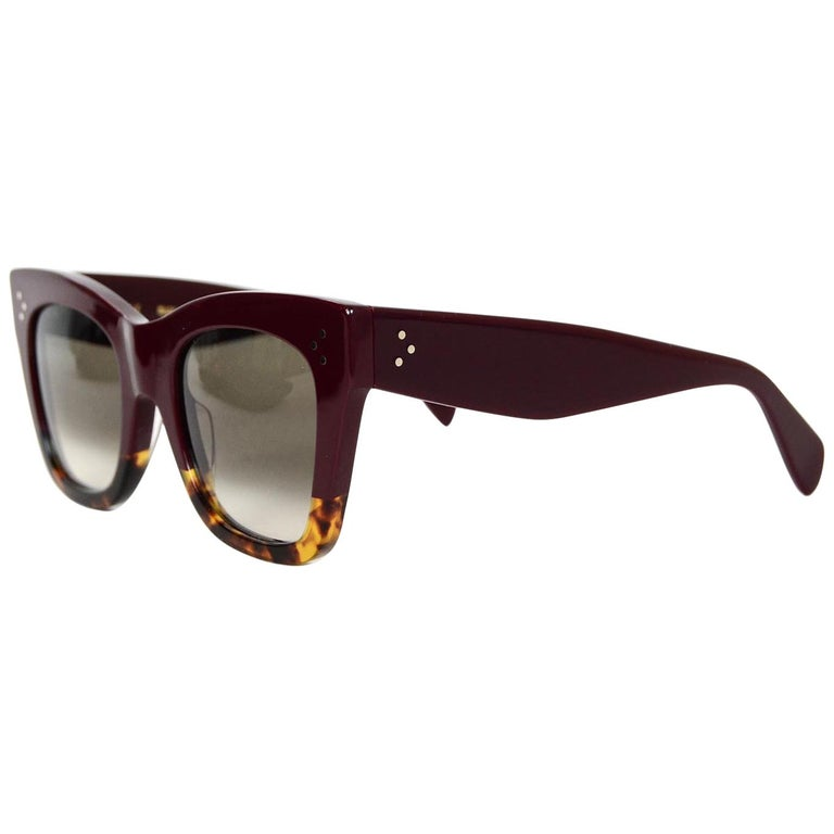 424b46965d Celine Burgundy Tortoise Catherine Sunglasses For Sale at 1stdibs