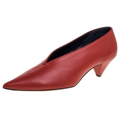 Celine Burnt Orange Leather V Neck Pumps Size 38