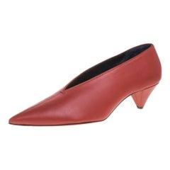 Celine Burnt Orange Leather V Neck Pumps Size 41