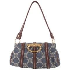 Céline by Michael Kors Blue Cotton Brown Leather Monogram Logo Shoulder Bag