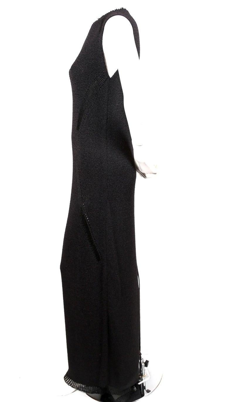 Black Celine By Phoebe Philo black knit dress with woven trim - new For Sale