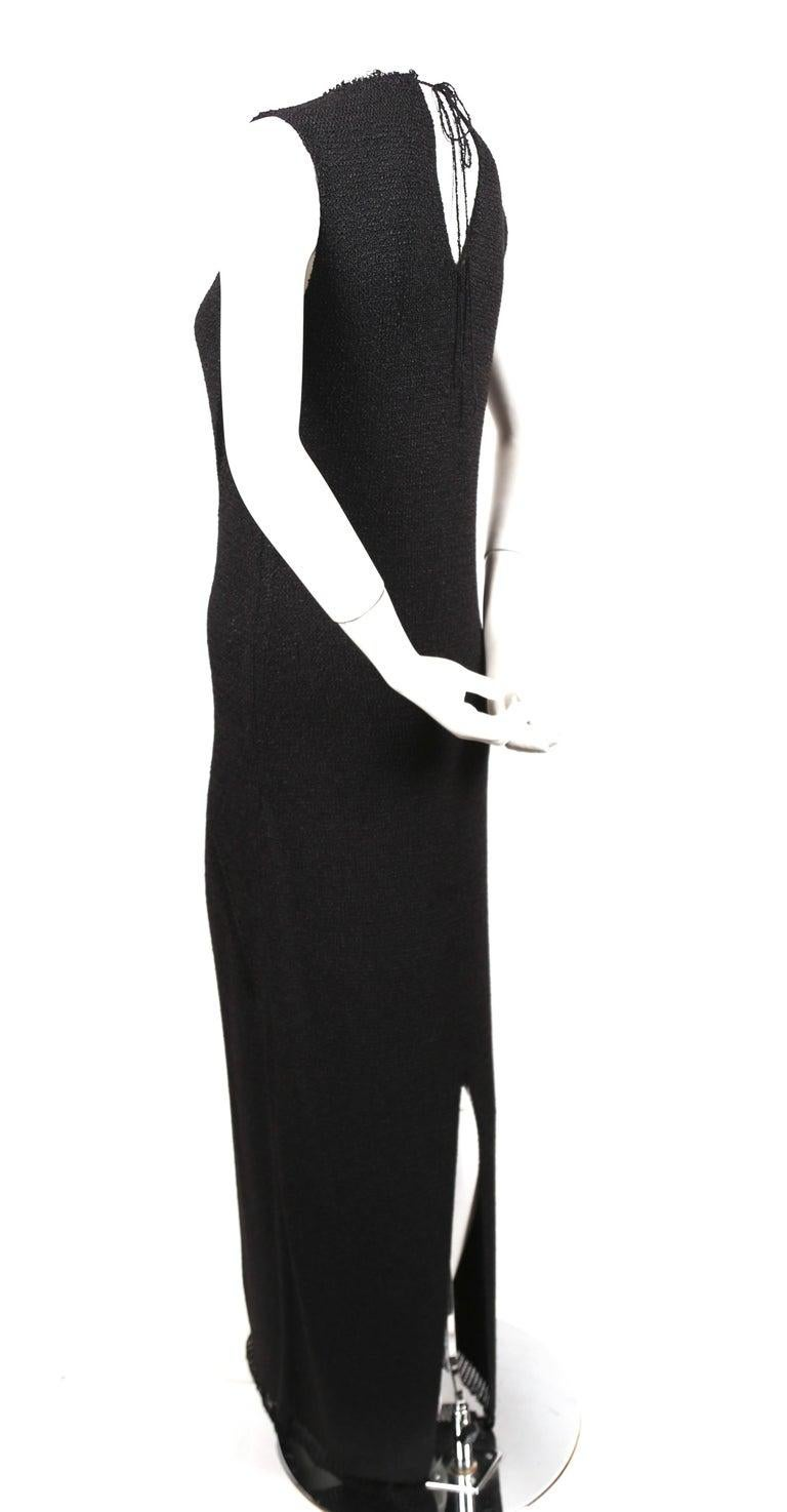 Celine By Phoebe Philo black knit dress with woven trim - new In New Condition For Sale In San Fransisco, CA
