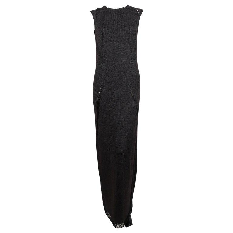 Celine By Phoebe Philo black knit dress with woven trim - new