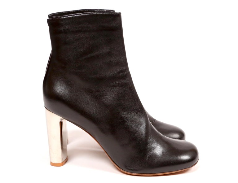 Women's or Men's CELINE by PHOEBE PHILO black leather ankle boots with silver heels - NEW For Sale
