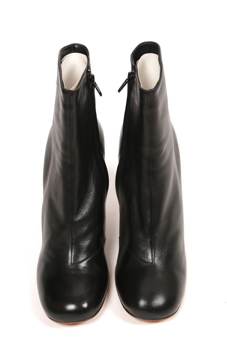 CELINE by PHOEBE PHILO black leather ankle boots with silver heels - NEW For Sale 1