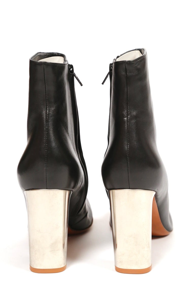 CELINE by PHOEBE PHILO black leather ankle boots with silver heels - NEW For Sale 2