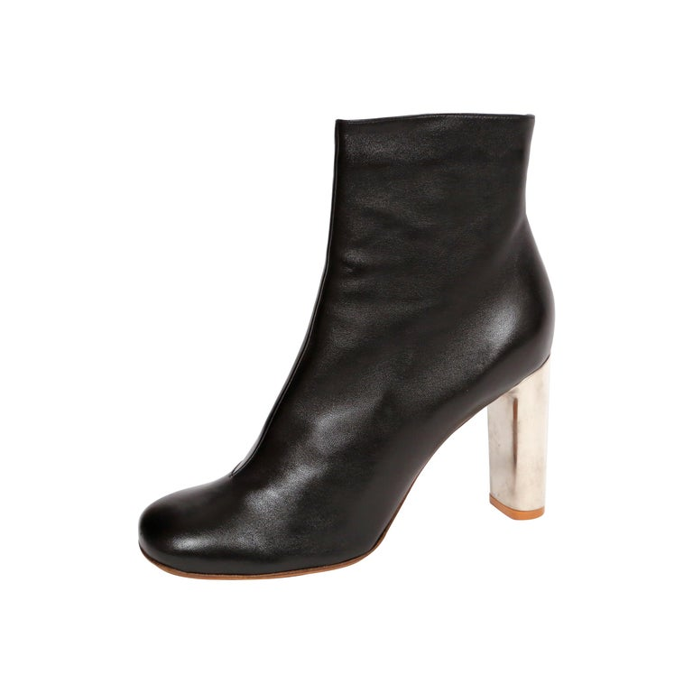 CELINE by PHOEBE PHILO black leather ankle boots with silver heels - NEW For Sale
