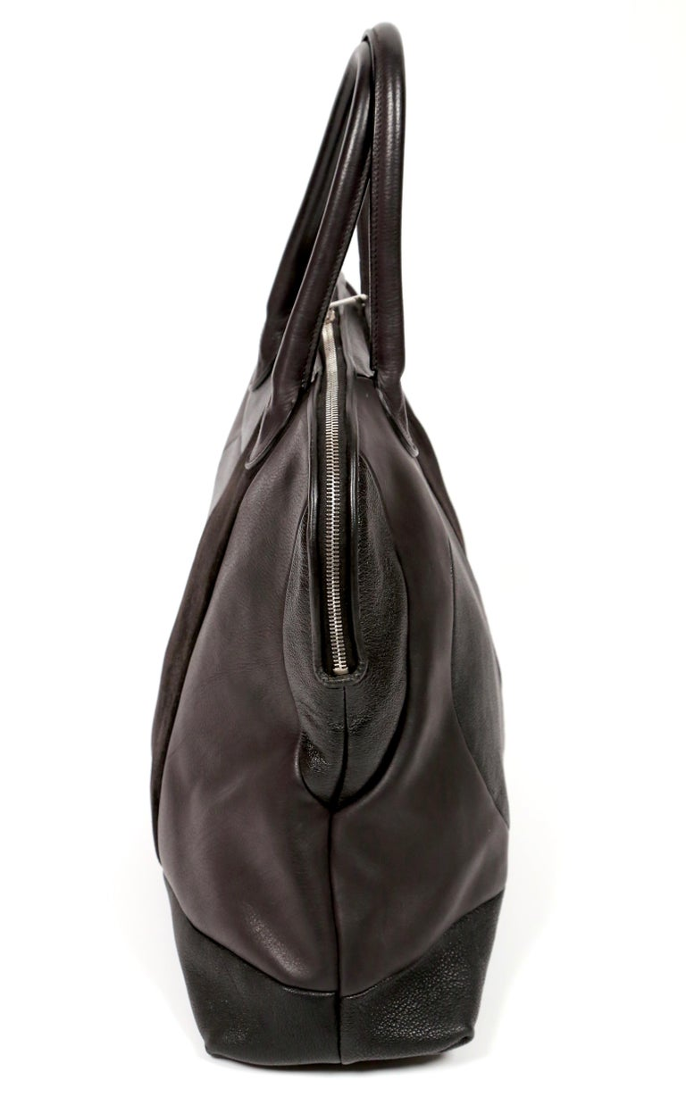 Black CELINE by PHOEBE PHILO black Leather Patchwork Bowling Duffle Bag For Sale