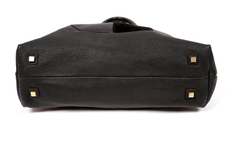 Women's or Men's CELINE by PHOEBE PHILO black Leather Patchwork Bowling Duffle Bag For Sale