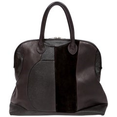 CELINE by PHOEBE PHILO black Leather Patchwork Bowling Duffle Bag