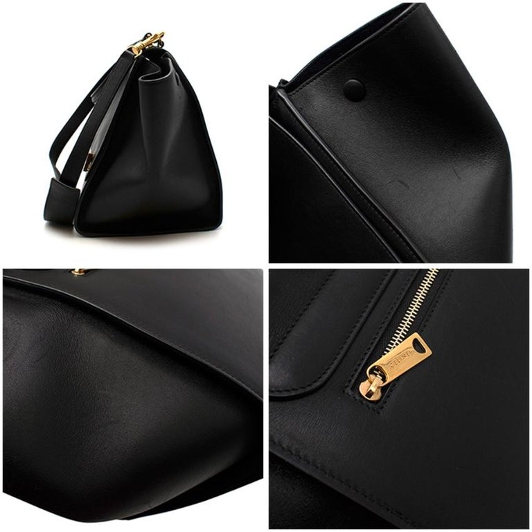 Celine by Phoebe Philo Black Leather Trapeze Bag For Sale 2