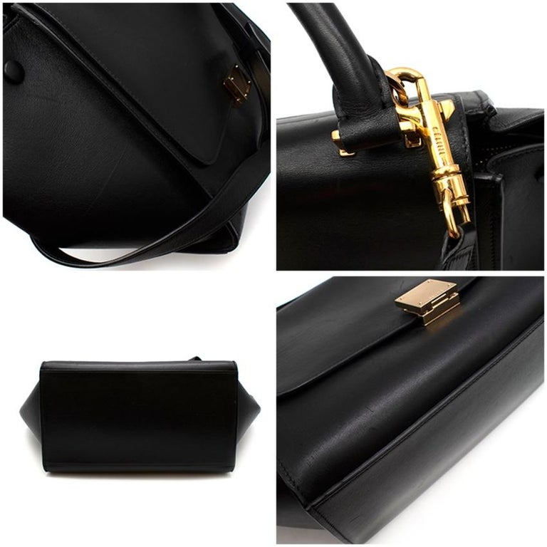Celine by Phoebe Philo Black Leather Trapeze Bag For Sale 4