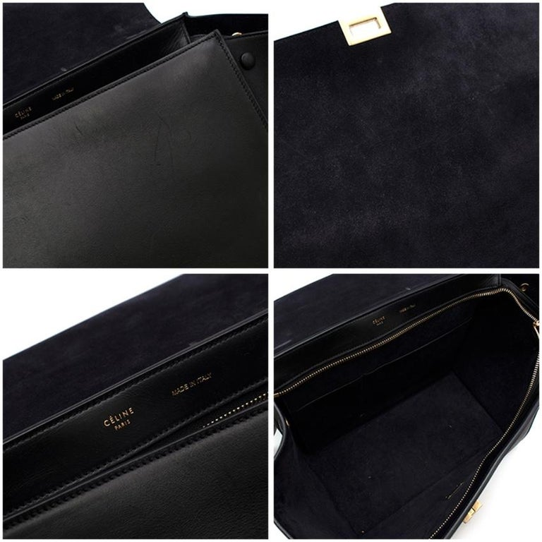 Celine by Phoebe Philo Black Leather Trapeze Bag For Sale 5