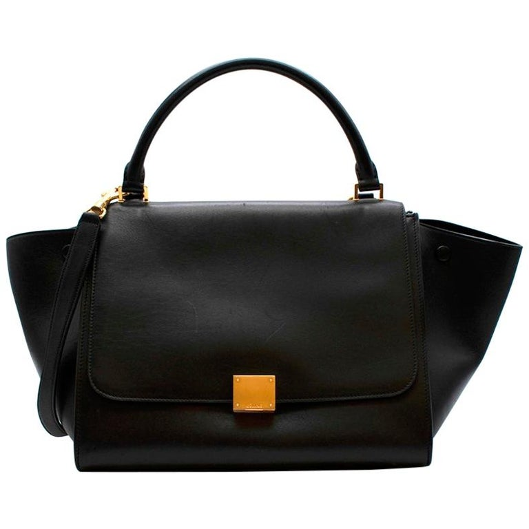 Celine by Phoebe Philo Black Leather Trapeze Bag For Sale