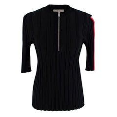 Celine By Phoebe Philo Black Stretch Jersey Ribbed Zip-Up Top - Size S