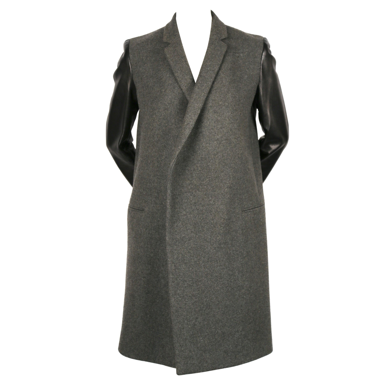 CELINE by PHOEBE PHILO charcoal grey black leather sleeve crombie coat