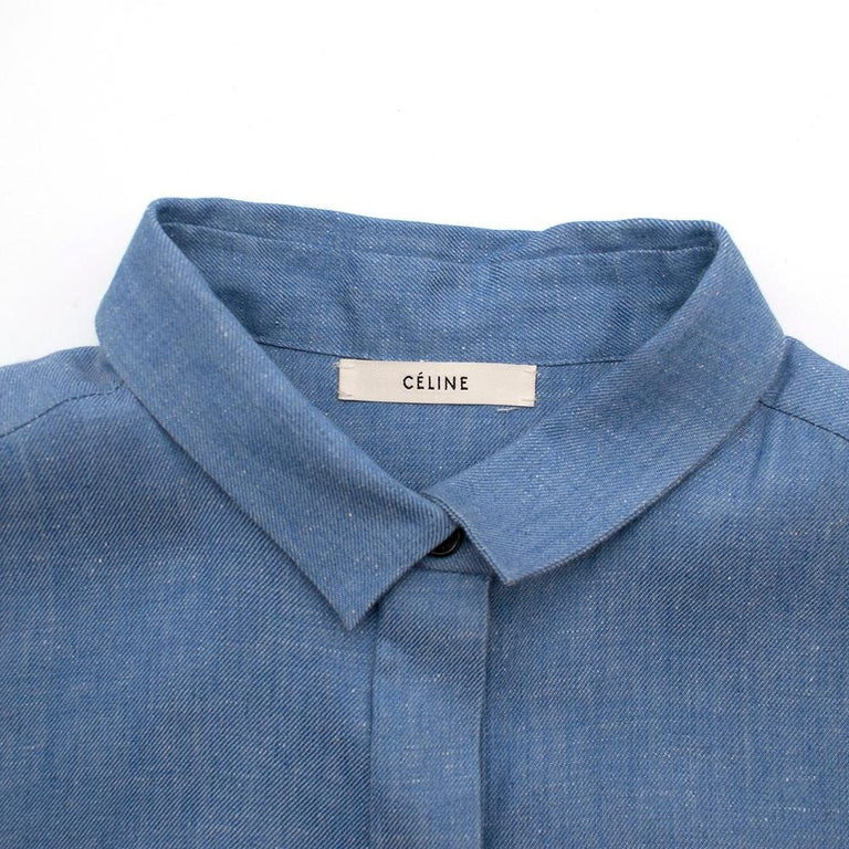 Celine by Phoebe Philo Denim Patchwork Mini Dress - Size US 8 In Excellent Condition For Sale In London, GB