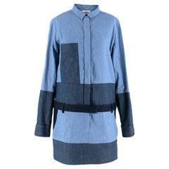 Celine by Phoebe Philo Denim Patchwork Mini Dress - Size US 8