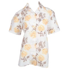 CELINE by PHOEBE PHILO floral printed organza short sleeve shirt - new