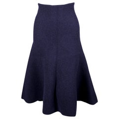 CELINE by Phoebe Philo navy blue textured knit trumpet skirt - runway 2013