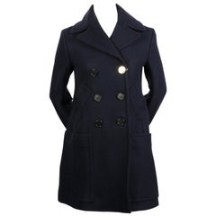 CELINE by PHOEBE PHILO navy blue wool peacoat with gold button - new