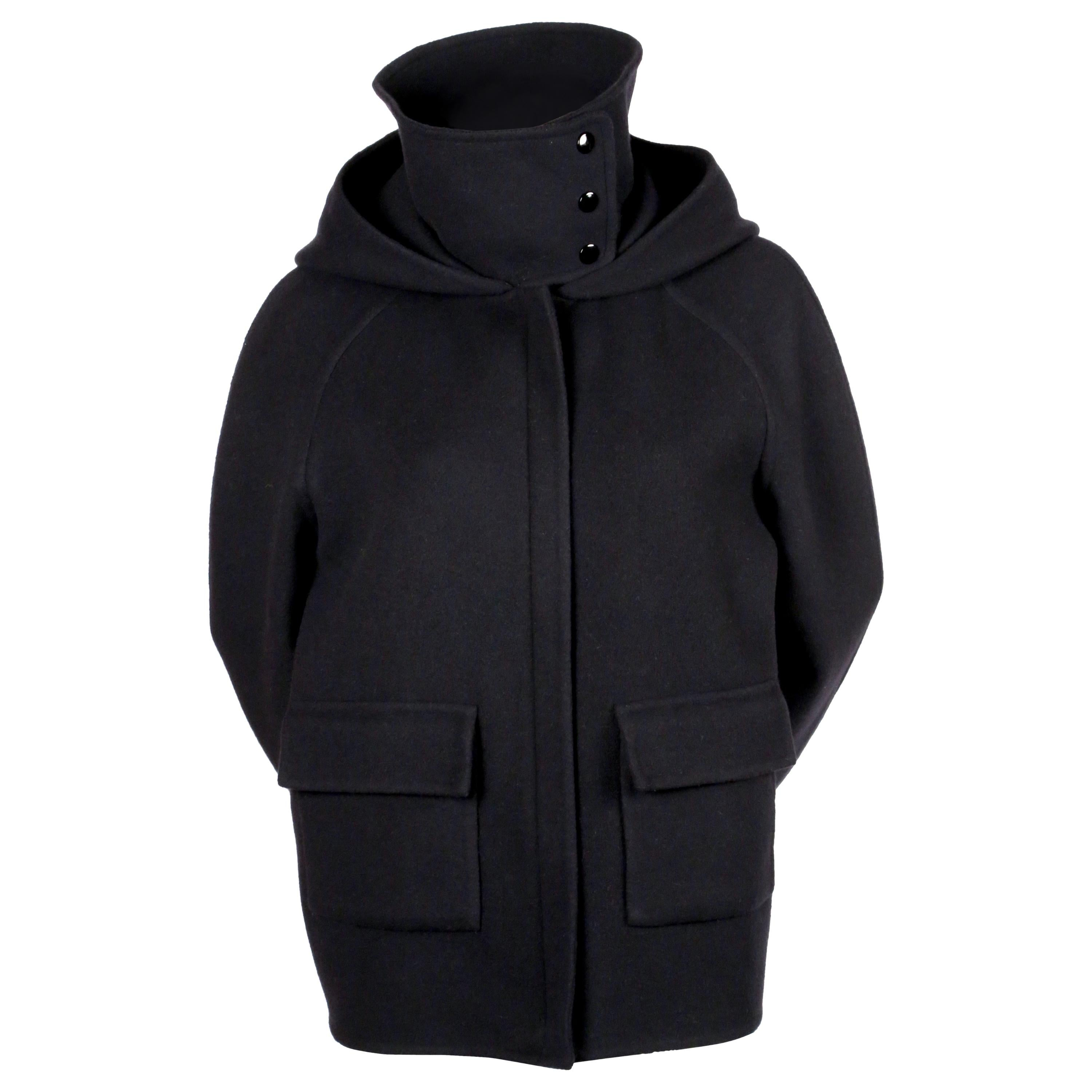 new 2014 CELINE by PHOEBE PHILO navy hooded cashmere jacket with patch pockets