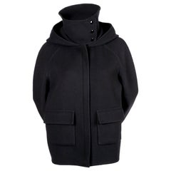 CELINE by PHOEBE PHILO navy hooded cashmere jacket with patch pockets