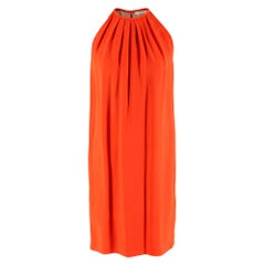 Celine by Phoebe Philo Orange Silk Pleated Mini Dress - Size US 6