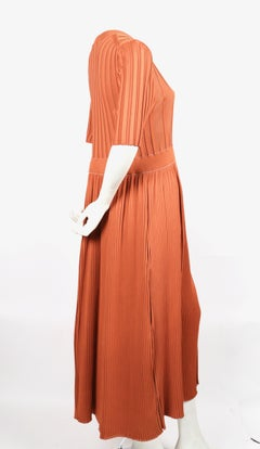 CELINE by PHOEBE PHILO ribbed salmon knit runway dress - NEW