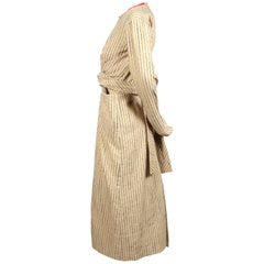CELINE by PHOEBE PHILO tan striped linen dress with long ties & leather neckline