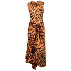 CELINE by PHOEBE PHILO tiger print draped dress with open back - new