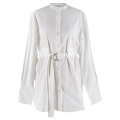 Celine by Phoebe Philo White Cotton Belted longline Blouse - Size US 6