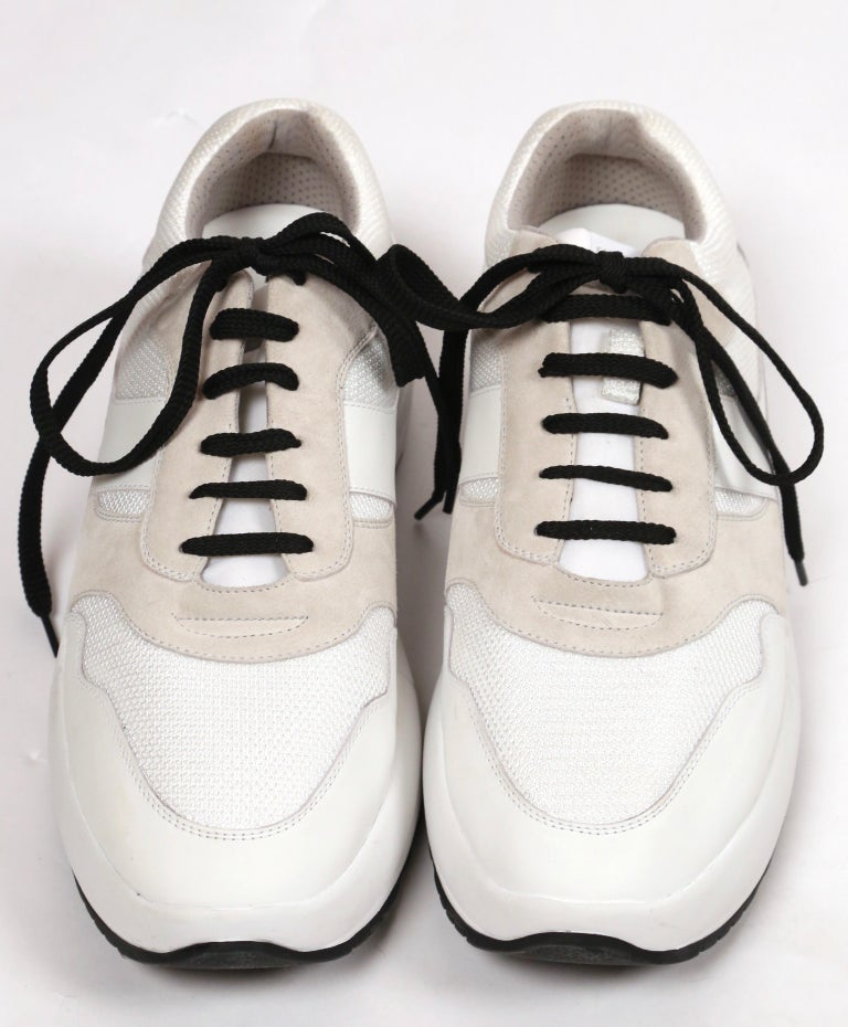 CELINE by PHOEBE PHILO white leather 'Delivery' sneakers - 41 - NEW In New Condition For Sale In San Fransisco, CA