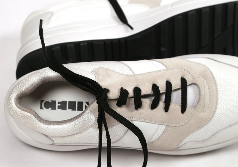 CELINE by PHOEBE PHILO white leather 'Delivery' sneakers - 41 - NEW For Sale 1