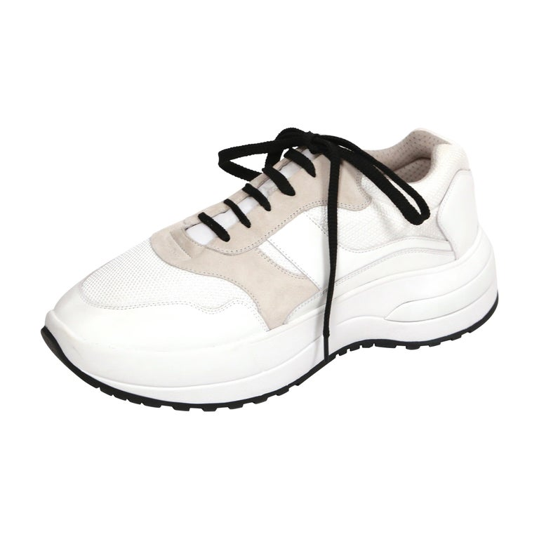 CELINE by PHOEBE PHILO white leather 'Delivery' sneakers - 41 - NEW For Sale